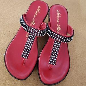 Athena Alexander bling red black sandals Size 8